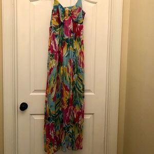 Strapless, Floral Print Maxi Dress